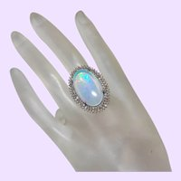 Estate Diamond and Ethiopian Opal Ring In Silver