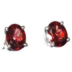 Oval Garnet Stud earrings Set in Silver