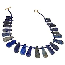 Lapis Lazuli Tear Drop Shaped Slab Necklace