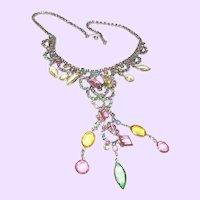 Vintage Rhinestone Dangle Necklace