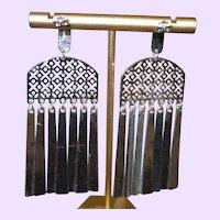 Silver Plate Hammered Metal Dangle earrings