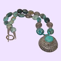 Chinese Turquoise Necklace with Large Nepal Pendant and Bali Silver