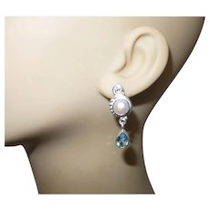 Cultured Mabe' Pearl Stud Earrings With Topaz Stones