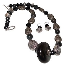 Bali Silver Necklace with Bandied Agate and Onyx