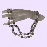 Vintage Rhinestone and Silver Necklace Set