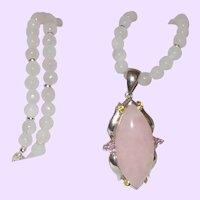 Rainbow Moonstone Necklace with a Rose Quartz Pendant