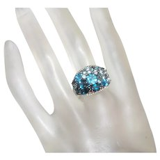 Balissima Sterling Silver Ring With Blue Topaz Stones