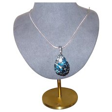 Balissima Sterling Silver Blue Topaz Tear Drop Pendant with Chain