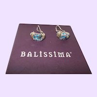 Balissima Sterling Silver Blue Topaz Stud Earrings with Gold Accents