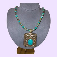 Turquoise Beads with Heishi Beads and Silver Pendant from Nepal