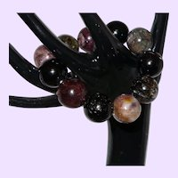 tourmaline Large Bead Bracelet on Stretch Cord
