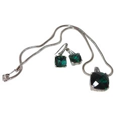 Estate Green Quartz Pendant and Earring Set With Bali Silver
