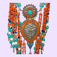 Ethnic Tibetan Necklace with Coral, Lapis, Turquoise and Bone