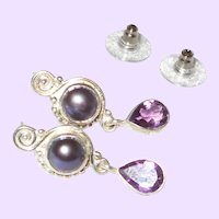 Cultured Mabe' Pearl Stud Earrings With Amethyst Stones