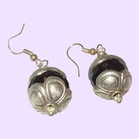 Ethnic Fish Hook Topaz Earrings With Silver Caps