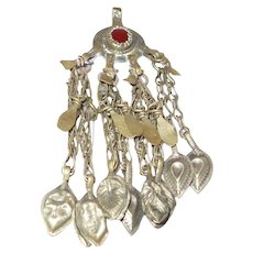 Large Afghan Pendant With Four Sets of Two Dangles