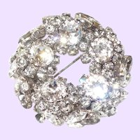 Breathtaking Rhinestone Brooch With Chatons and Navettes
