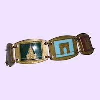 Vintage Enamel and Brass Paris Souvenir Bracelet