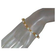 Estate Opal and Diamond Tennis Bracelet