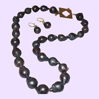 Baroque Peacock Grey Cultured Pearl Necklace with Vermeil Clasp