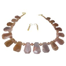 Brown Marble Agate Slab Necklace with 14 KYG Plate Spacers
