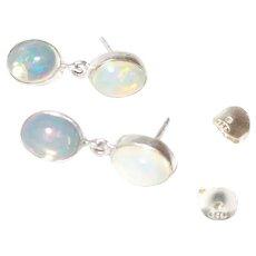 Double Dangle Ethiopian Opal Stud Earring In Silver