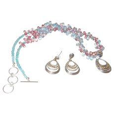 18KYG and Silver Ethnic Pendant and Earrings with Blue and Pink Topaz
