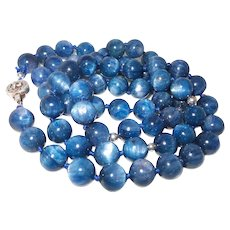 Natural Kyanite Beaded Necklace with Sterling Silver Clasp