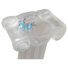 Blue Topaz Stud Earrings in Silver