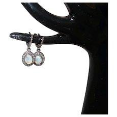 Ethiopian Opal and Diamond Dangle Earring