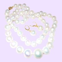 37 Inch Hand Knotted Cultured Pearl Neckalce Set