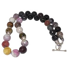 Tourmaline Beaded Necklace on Knotted Silk Cord with Earrings