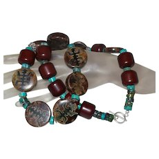 African Amber, Chinese Turquoise and Agate Necklace