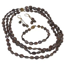 Natural Triple Strand Moonstone Necklace Set