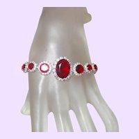 Vintage Red Rhinestone and Crystal Bracelet
