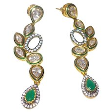 Emerald and Zircon Vintage Stud Dangle Earrings