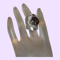 Ethnic Ring with Topaz Stone in Hammered Silver Setting