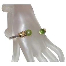 Vintage Twisted Rope Bracelet with Green Cat Eye Stones