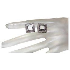 Rose Cut Diamond Studs In Silver