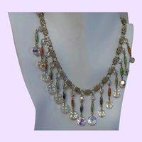 Vintage Aurora Borealis Crystal Choker Dangle Necklace