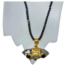 Black Spinel Necklace with Nepal Crystal Pendant