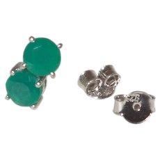 Green Onyx Stud Earrings in Sterling Silver