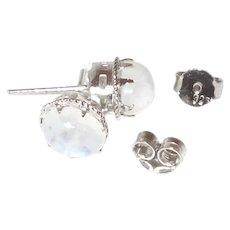 Mystic Moonstone Earrings in A Filigree Silver Setting
