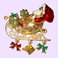 Signed Vintage Santa Brooch