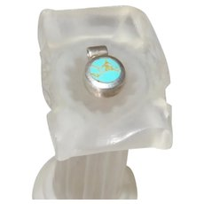 Signed Mexico TA18 Turquoise Pendant In Silver