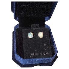 Ethiopian Opal Stud Earrings In Silver