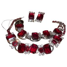 """Vintage Juliana D&E Siam """"Ruby"""" Red Parure with Hand Tag For Necklace"""