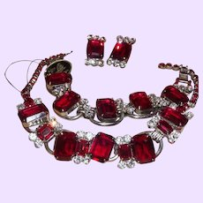 "Vintage Juliana D&E Siam ""Ruby"" Red Parure with Hand Tag For Necklace"