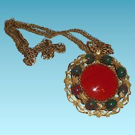 Vintage Signed Miriam Haskell Medallion With Red Glass Stone
