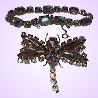 Vintage Designer Quality Unsigned Figural Dragon Fly Brooch and Bracelet